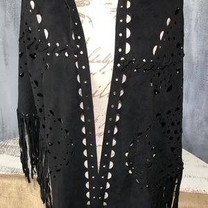 Steve Madden faux suede scarf cape wrap topper NWT